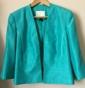 Jacques Vert Ladies open / Bolero Jacket size Uk 20 Blue / Turquoise