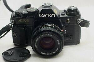 Canon AE-1 Program Film Camera Black w/ FD 50mm f1.8 lens *Excellent*