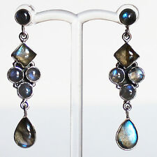 925 Sterling Silver Semi-Precious Natural Labradorite Drop Earrings