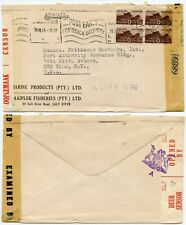 SOUTH AFRICA WW2 CENSORED PAN AM CLIPPER SOUTH ATLANTIC BLOCK FISHERIES ENV