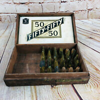 Vtg Fifty Fifty 50/50 WOOD CIGAR BOX /w Brass $ Metal Cake Piping Frosting Tips