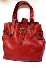 Vintage COUNTRY ROAD thick Red Leather large Shoulder Bag Hobo Handbag Tote EC!