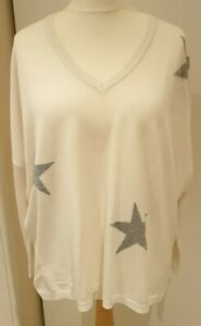 DKNY JEANS V NECK STAR PRINTED LONG SLEEVE CREAM JUMPER SIZE M 14/16 RRP £35