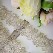 1M High Quality Lace Flower  Trim with sequin & Pearl(beaded)    Light SILVER