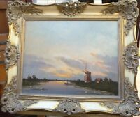 Antique Dutch Windmill River Landscape Oil Painting Signed Wooden Panel Holland