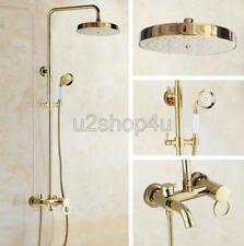 Polished Gold Brass Wall Mounted Rain Shower Faucet Set W/ Tub Mixer Tap Ugf415