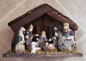 Wooden Porcelain Nativity Scene