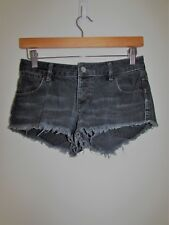 WRANGLER 'Lo Cheeky' Grey Distressed Denim Shorts Size 6 Small S
