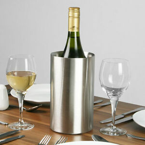 Wine Bottle Cooler Stainless Steel Ice Bucket Double Wall Brushed Finish