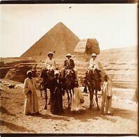 EGYPTE Voyage Archéologie Sphinx Pyramides de Gizeh, Photo Stereo Plaque Verre