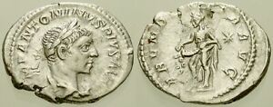 006. Roman Silver Coin. ELAGABALUS, AR Denarius. Rome. Abundance. VF
