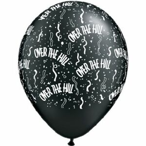 "10 pc 11"" Over the Hill Confetti Around Printed Latex Balloon Happy Birthday"
