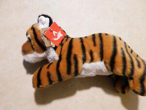 "Aurora Flopsie Laying Indira the TIGER Cub 12"" Plush Wild Cat Stuffed Animal NEW"