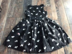 Gymboree Nwt Girls Black Silver Scottie Dog Holiday Christmas Dress Size 5