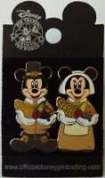 Disney Pin 2005 Thanksgiving Mickey & Minnie Mouse Pilgrims – New on Card