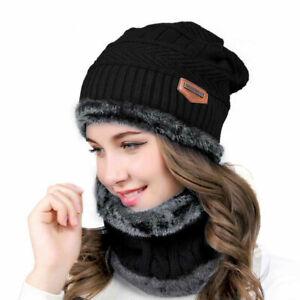 Women Beanie Hat Scarf Set Neck Cover Winter Warm Fleece Knitted Thick Ski Cap