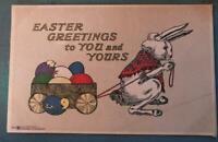 ~Scarce~Volland Arts & Crafts Postcard ~Bunny Rabbit & Egg Cart-Chick-b458