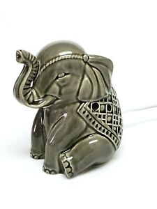 Adorable Ceramic Gray Elephant Accent Table Lamp Night Light Office Desk Lamp