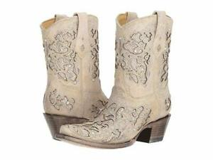 Ladies Corral A3550~White (Bone) Inlay & Crystals Ankle Boot~Western~Wedding