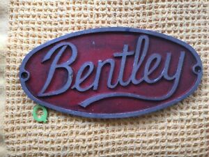 Antique Reclaimed Salvaged Cast Iron Red BENTLEY oval Sign