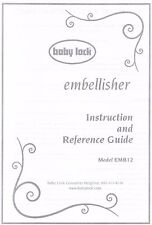 Embellisher EMB12-2 Baby Lock Sewing Machine Users Guide Instruction Manual Book