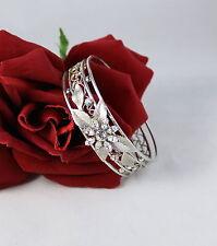 Vintage Rhinestone Silver tone Ornate Cuff   Bracelet CAT RESCUE