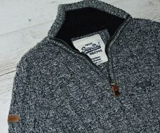 EXTRA! SUPERDRY PREMIUM KNITWEAR GREY JUMPER ZIP NECK SIZE L - LARGE