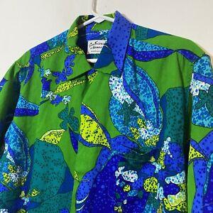 Vintage Hawaiian Shirt Short Sleeve Button Up Green Tropical Size XL