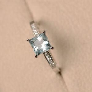 1.40 Ct Genuine Diamond Engagement Ring 14K White Gold Aquamarine Size 5 6 7 8