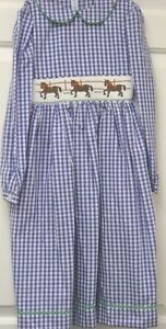 NWT long sleeve smocked & embroidered blue & white check dress size6