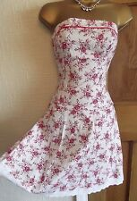 STUNNING ❤️ Red White Floral Jane Norman Summer Boned Dress Size 8 10  Holiday