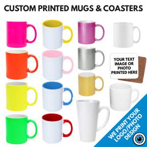 Custom Printed Mugs & Coaster • Personalised Print Cup Logo Image Photo Bulk Mug