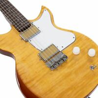 Harmony Rebel Electric Guitar, Limited Edition Flame Maple Top Vintage Natural