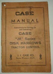 Case JA Series Tractor Control Disk Harrow Operators Manual ORIGINAL! 10/48
