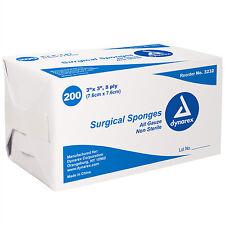200 Surgical Gauze Sponges Dynarex 3 x 3 8 ply Bandages Wound Non-Sterile 3232