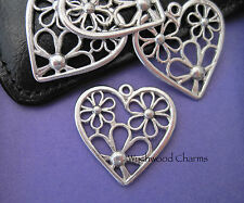 2 HEART WITH FLOWERS PENDANTS CHARMS 30mm SILVER TONE JEWELLERY MAKING (A2)