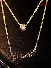 Rose Gold Filled Crystal Love heart Princess Double Drop Necklace N269
