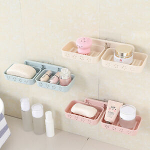 Star Double Compartment Soap Holder Dish Storage Case Wall Mounted Container New