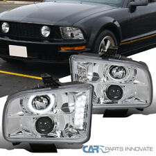 Ford 05 09 Mustang Clear Led Drl Halo Projector Headlights Head Lamps Leftright Fits Mustang