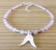 Rose Quartz 4mm Gemstone Beads Angel Wings Charm Ankle Bracelet Angel Healing