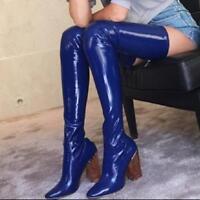 Lackleder Overkneestiefel Damen Boots Hoch Blockabsatz Stiefel Laufsteg Schuhe