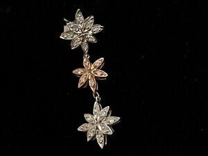 SINGLE DIAMOND 14K ROSE & WHITE GOLD 3 FLOWER DANGLE DROP EARRING M. DRECHSLER