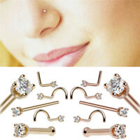 5PCS/Set Rhinestone Nose Studs Screw Ring Bone Bar Pin Piercing Body Jewelry HF