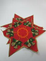 VINTAGE CHRISTMAS STAR BELLS Doily Red Candle Doilies 31721 holiday Xmas