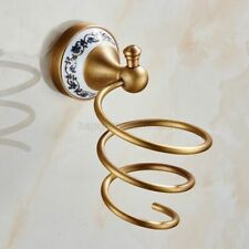 Antique Brass Wall Mounted Ceramic Base Bathroom Hair Dryer Holder Rack