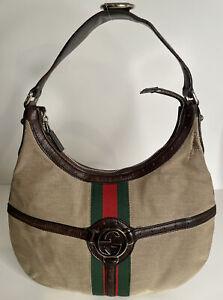 GUCCI Brown Web Canvas Reins Hobo Bag