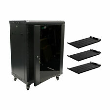15U Wall Mount Network Server Cabinet Rack Glass Door Lock w/Casters and Shelves
