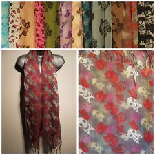 Ladies Scarf Shawl Wrap Pashmina SKULL Print BRAND NEW Large Grey Red Tassel