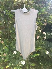 Next Size 10 Grey Bodysuit W/ Frilly Neckline Summer Fitted Top Casual BN!