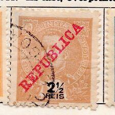 Portuguese India 1910 Early Issue Fine Used 2.5r. Republica Optd 166051